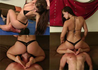 Mistress uses ass to humiliate slave